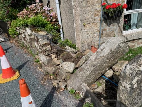 Before Car Crashes Into Garden Wall Repairs